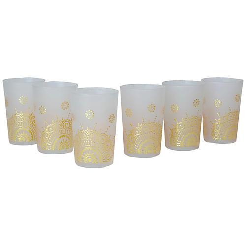 S/6 Jaycee Tea Glasses, White/Gold
