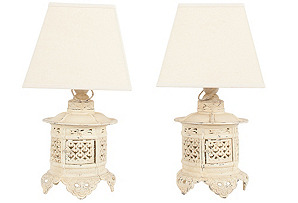 Cream Moroccan Lantern Lamps, Pair