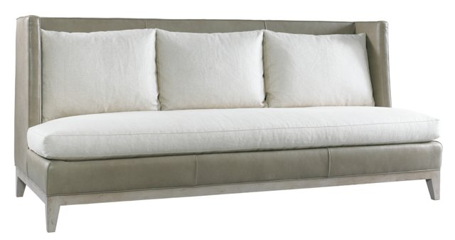 "Gerard 93"" Wing Sofa, Linen/Leather"