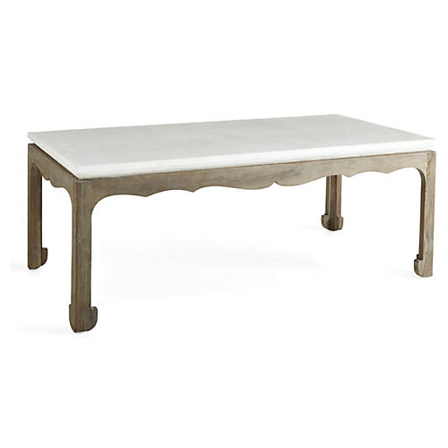 Remy Stone Top Coffee Table, White