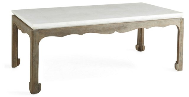 Remy Stone-Top Cocktail Table, White