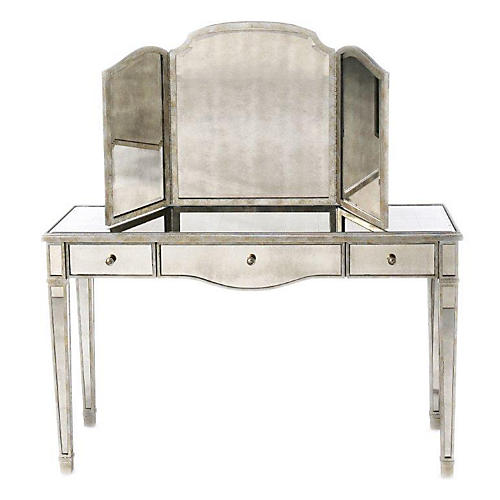 Rosalyn Vanity & Dressing Mirror, Silver