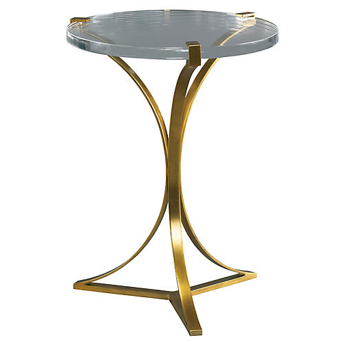 Maxime Acrylic Side Table, Clear/Gold