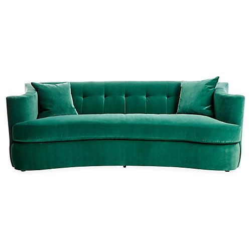 Maison Tufted Sofa, Emerald Velvet