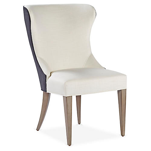 Thayer Side Chair, White/Slate Gray