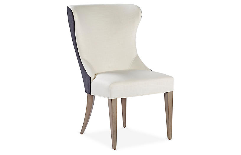 Light Gray Linen Dining Chairs: Elloree Side Chair, Gray Linen