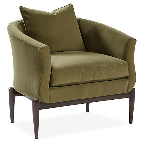 Marion Accent Chair, Olive Velvet