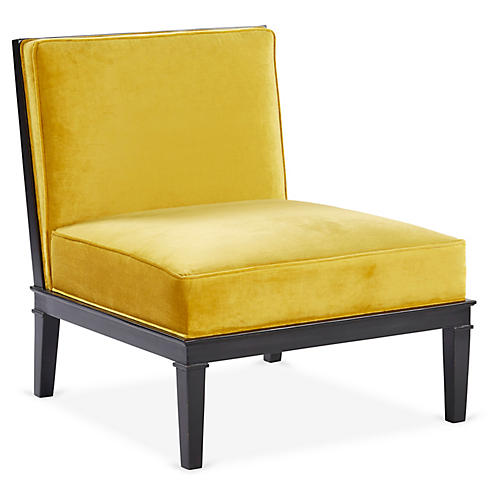 Pascal Accent Chair, Yellow Velvet
