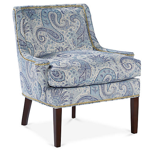 Anson Accent Chair, Blue/White