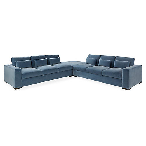 Lange Sectional, Blue Velvet