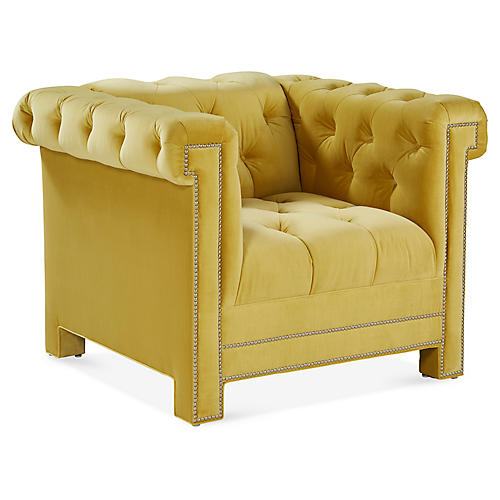 Tyler Club Chair, Yellow Velvet