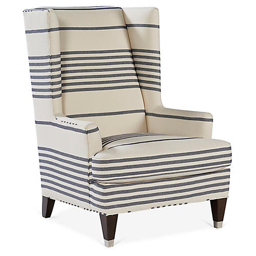 Gibson Wingback Chair, Navy/Ivory