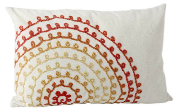 Set of 2 Ombre 12x20 Pillows, Warm