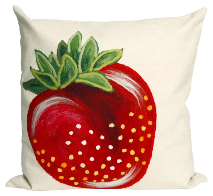 Set of 2 Strawberry 20x20 Pillows, Red