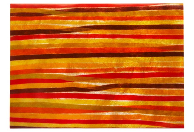 S/4 Irregular Stripe Place Mats, Crimson