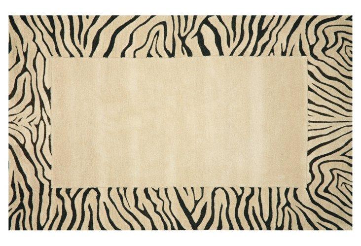 Zebra Border Rug, Sand/Black