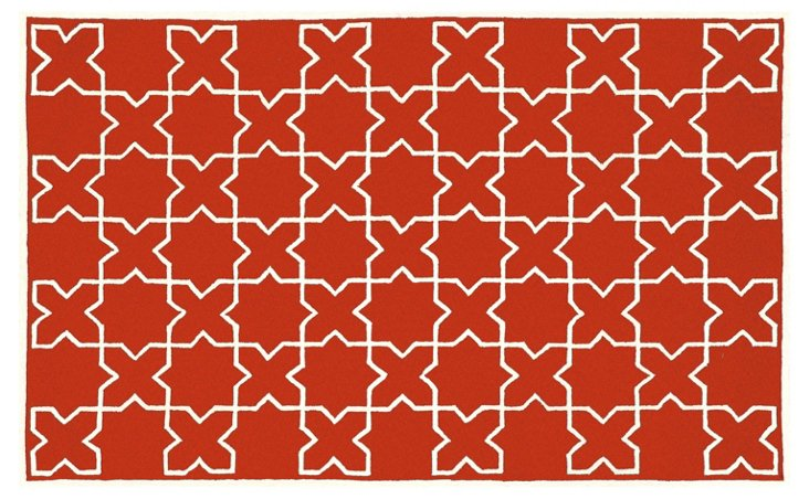 Moroccan Tile Rug, Red Clay
