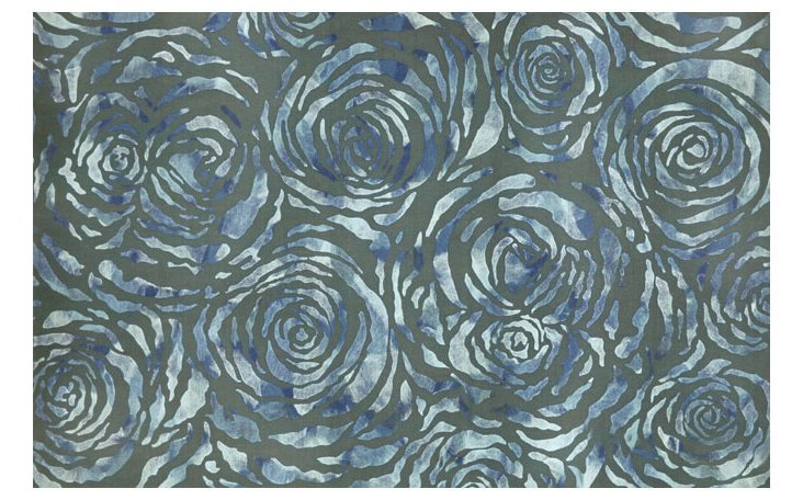 Dyed Roses Outdoor Rug, Gray/Sky