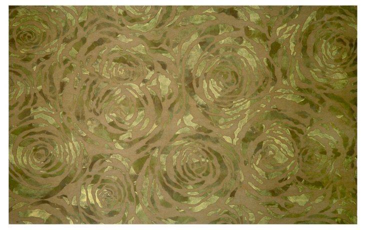 Dyed Roses Outdoor Rug, Moss