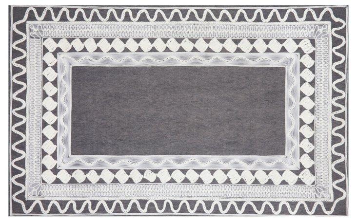 Crochet Outdoor Rug, Slate/White