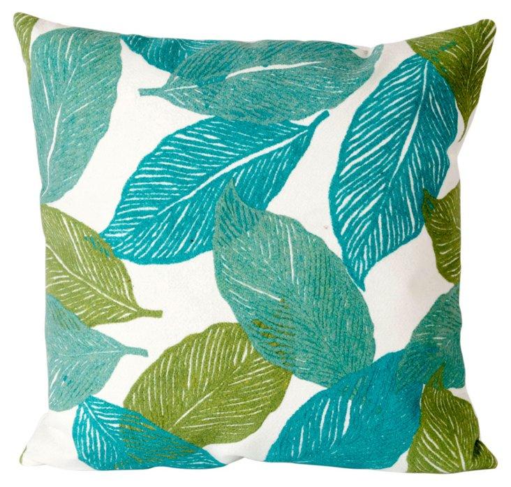 Set of 2 Cut Leaves 20x20 Pillows, Aqua