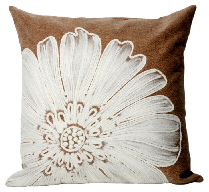 Set of 2 Flower Pillows, Taupe
