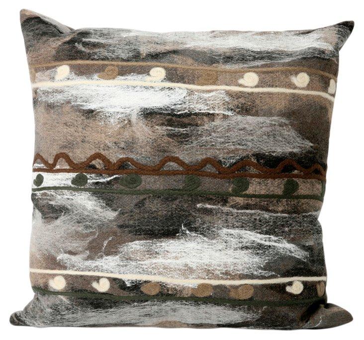 Set of 2 Stripe Pillows, Charcoal