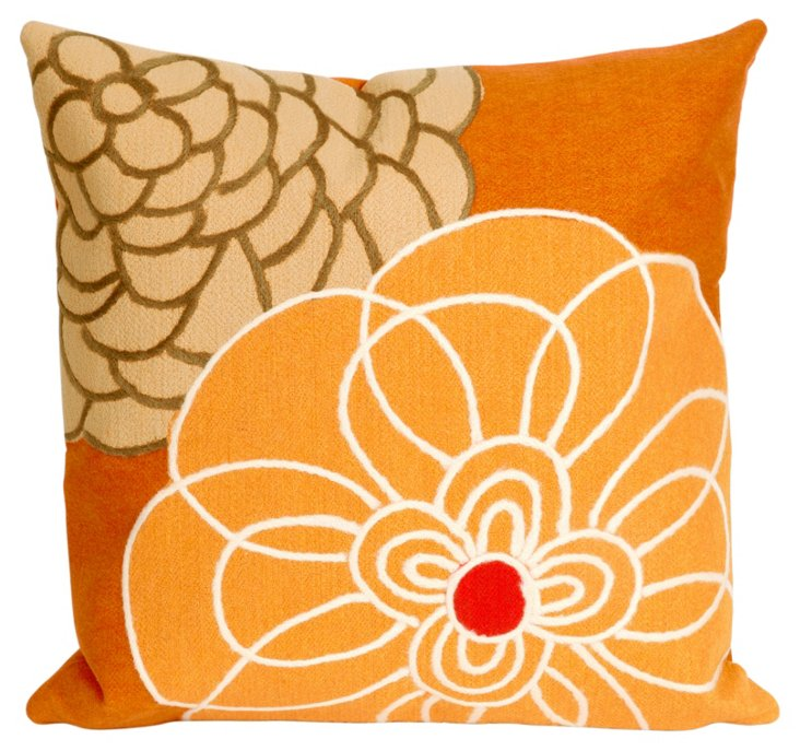 Set of 2 Flower Pillows, Orange