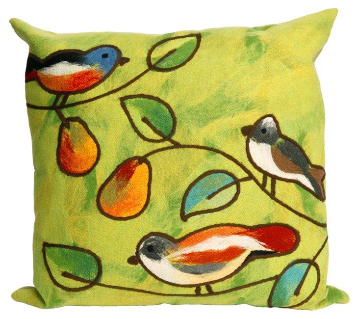 Set of 2 Birds 20x20 Pillows, Green