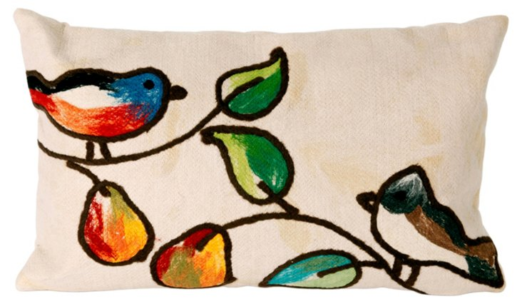 Set of 2 Bird 12x20 Pillows, Cream