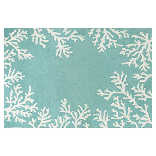 Coral Border Outdoor Rug, Aqua