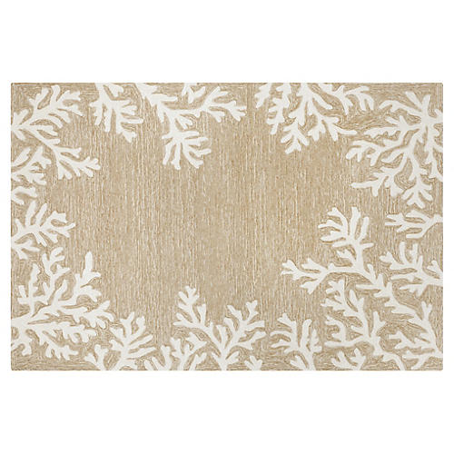 Coral Border Outdoor Rug, Neutral
