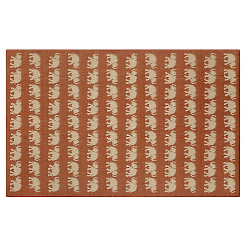 Elephants Outdoor Rug, Terracotta