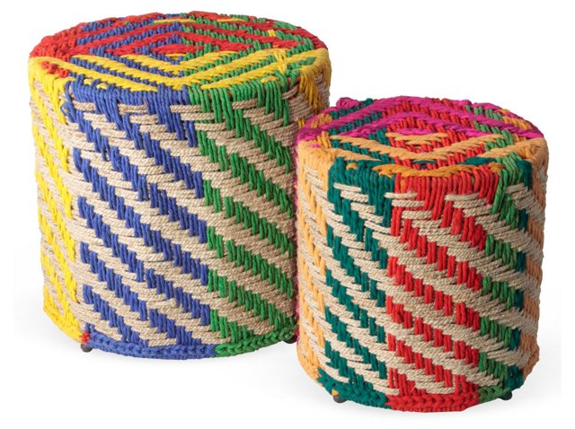 Chindi Rainbow Jute Stools, Set of 2
