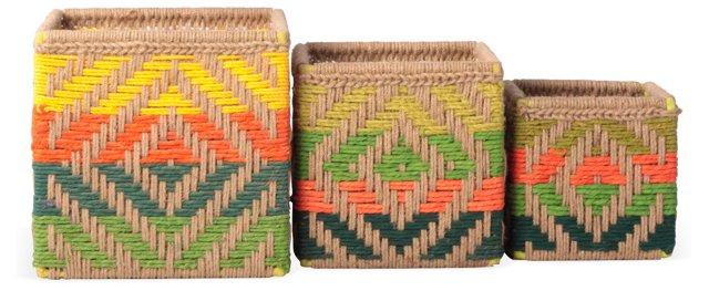 Asst of 3 Jute Baskets, Multi Bright