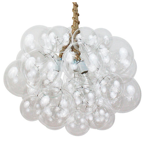 Large Bubble Chandelier, Jute Cord