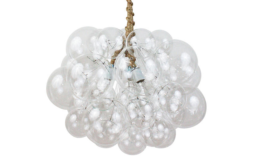 Thirty One Bubble Chandelier, Jute Cord