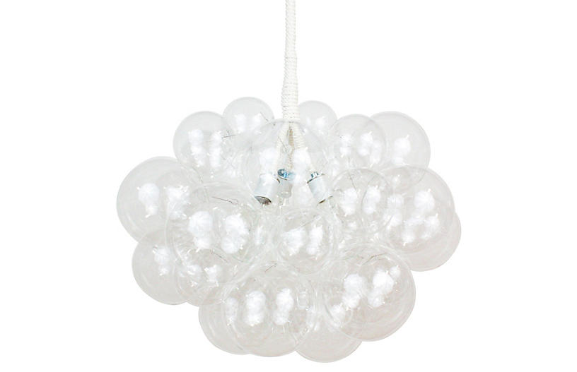 Thirty One Bubble Chandelier, White Cord
