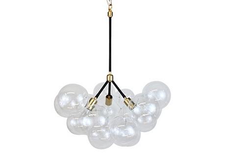 Jumbo 3-Branch Bubble Chandelier, Brass
