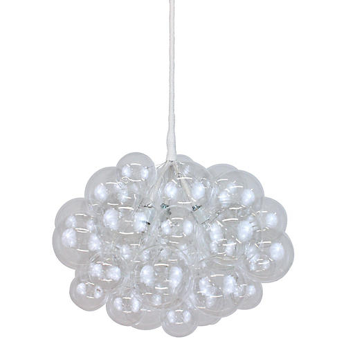 Bubble Large Chandelier, Clear/White