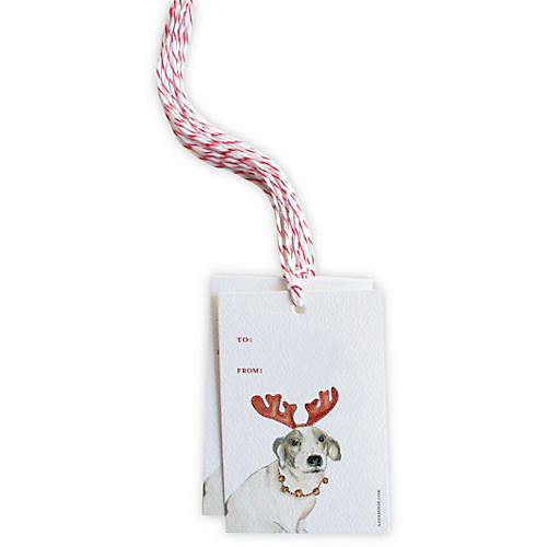 S/12 Gift Tags, Reindeer Dog