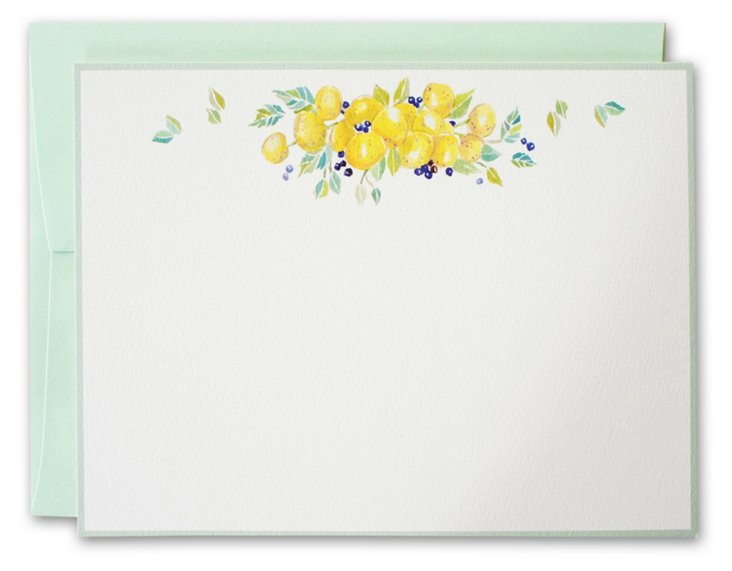 S/10 Citrus & Berry Note Cards, Mint