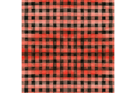 S/4 Gingham Gift Wrap, Red/Black