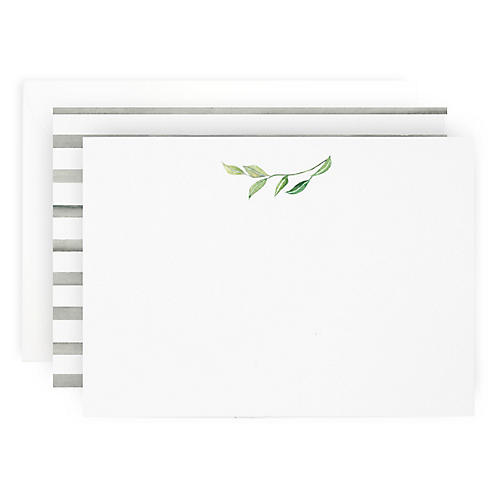 S/10 Leaf Sprig Note Cards