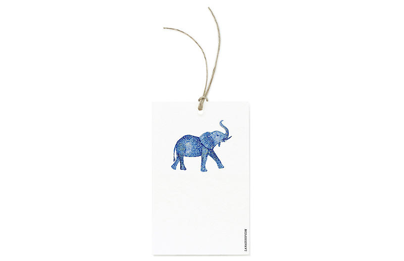 S/12 Patterned Elephant Gift Tags