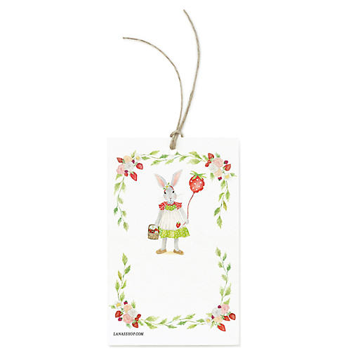 S/12 Strawberry Bunny Gift Tags