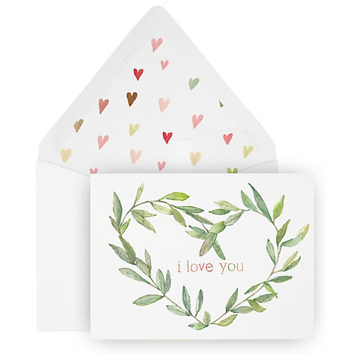 S/8 I Love You Wreath Greeting Cards