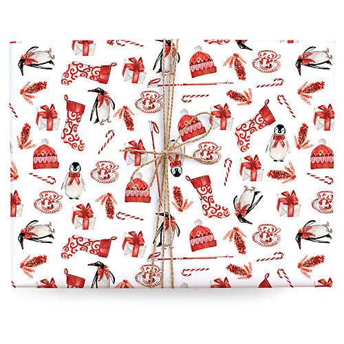 S/3 Penguins Gift Wrap