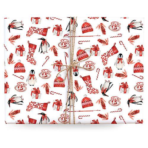 S/3 Penguins Gift Wrap