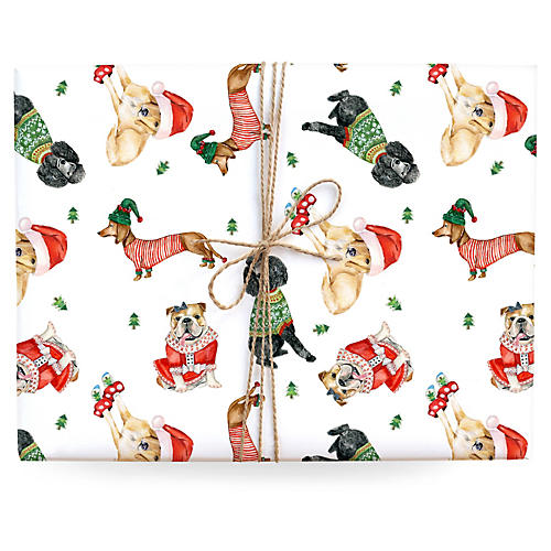 S/3 Holiday Dogs Gift Wrap